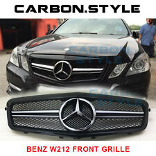 Mercedes Benz E-Class 10-13 W212 E63AMG Look Shiny Black Front Grille 4D Sedan