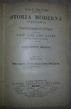 """Bertolini """"Storia moderna d'Europa particolarmente d'Italia"""" parte Prima"""