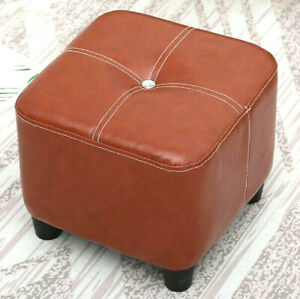 Luxury Wooden Ottoman Footstool Pouf Foot Rest Handmade Leather Cameo Red