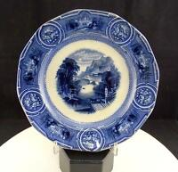 "PODMORE WALKER WEDGWOOD ANTIQUE FLOW BLUE CALIFORNIA 8.75"" SIDE PLATE 1849-1860"