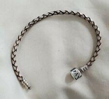 Pandora leather silver and brown bracelet  box lock 6.5