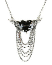 Wing Heart Stone Chain Steampunk Necklace Lace Pendant Punk Goth Cyber Rave