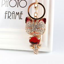 Fortune Cat Fashion Keyring Cute Crystal Charm Pendant Key Bag Chain Party Gift
