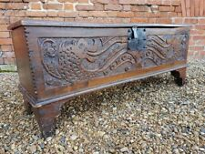 Early 18thC English Antique Elm Sword Chest with Wyvern-Carved Front Circa 1700