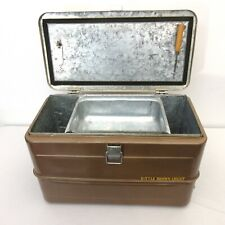 Vintage Little Brown Chest Cooler Metal Ice Box with Tray Pick Opener 1950'S