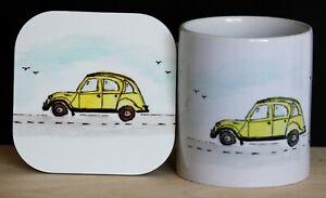 Citroen 2CV Mug and Coaster Gift Set from original hand drawn illustrations