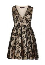 Zibi Londres Flocado impresión Organza/Satén Vestido negro talla UK 10 RRP £ 70 DH077 mm 25
