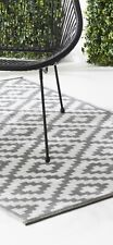 Outdoor Garden  Plastic Feel  Grey And White Washable Rug 120 X 180cm