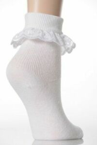 Girls Jolie Fille Pretty White Lace Top Extra Soft Embroidered Socks 3-51/2 19-2