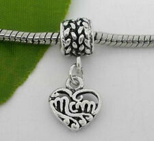 MOM Heart European Charm on Special Bail Gift for Mom for Bracelet Ships Free