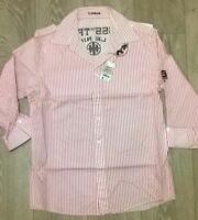 TOPMAN Mens pink white stripe trendy smart shirt Size LARGE  NEW TOPSHOP
