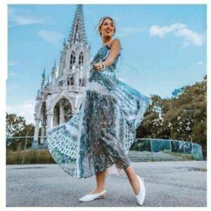 ZARA MAXIKLEID KLEID PAISLEY PRINT LONG MAXI FLOWING PRINTED CHIFFON DRESS