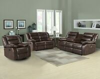 Faux Leather Reclining 3 Piece Living Room Set Chair Loveseat Sofa multicolor