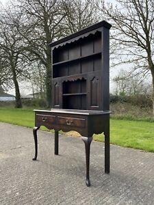 Attractive Antique Oak Open  Welsh Dresser Desk  Bookcase