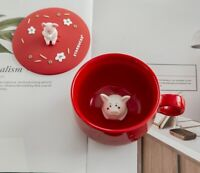 China Starbucks Red Cute Pig Milk Cup Coffee Mugs Limited Edition W/ Lid  Gift