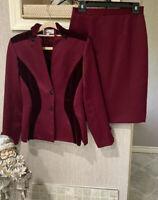 Vintage Sz 6 VICTOR COSTA 2-PC Suit Jacket Skirt Set DEEP RED Satin silk