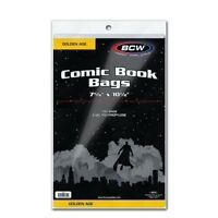 100 BCW Golden Age Comic Book Bags 7 5/8x10 1/2 2 Mil Acid Free Safe Storage
