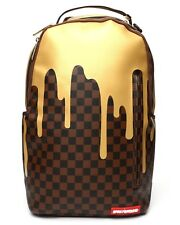 Sprayground Gold Checkered Drips Damier Pattern Book Bag Backpack 910B1637NSZ