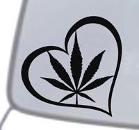 MARIJUANA HEART Vinyl Decal Sticker Car Window Wall Bumper Love Weed Funny Dope