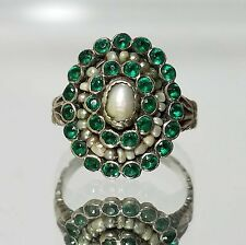 Vintage Green Tourmaline & Seed Pearl Ring