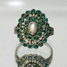 Antique Georgian Green Tourmaline & Seed Pearl Ring