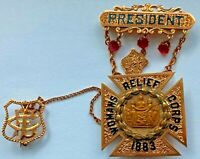 14 kt. Gold & Rubies Presentation Past President Badge Womans Relief Corps
