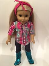 "Doll Clothes Western Cowgirl Teal Plaid 4 Pc Boots Outfit For 18"" American Girl"