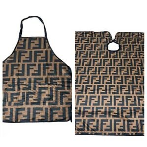 "Combo Apron & Barber hair cutting and styling cape 55""X60"" Buttons"