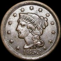 1853 Braided Hair Large Cent Penny --- NICE --- #F096