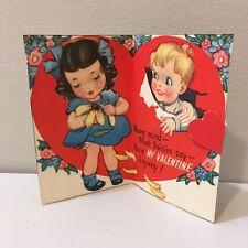 Vtg Valentine Card Little Dark Hair Girl Blue Dress Boy Striped Shirt Daisy