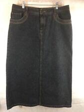 Sonoma Long Denim Blue Jean Skirt Sz 14P  A-Line Modest With Slit Cotton