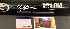 Nico Hoerner Chicago Cubs Autographed Signed Bat Black PSA WITNESS COA