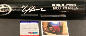 Nico Hoerner Chicago Cubs Auto Signed Bat Black PSA WITNESS COA White