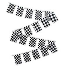 30ft String Flag Set of 20 Checkered Black White 12x18 Bunting Flag Banner Flags