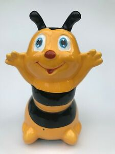 Collectable Cute Hand Painted Ceramic Bee Money Box / Piggy Coin Bank Unused