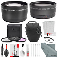58MM 2.2x Telephoto & HD 0.43X Wide Angle w/ Basic Accessory Kit for Canon DSLR