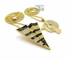 Iced Out Gold Pt Cz Rocafella & Paper Plane Pendant Box Chains Hip Hop Necklace
