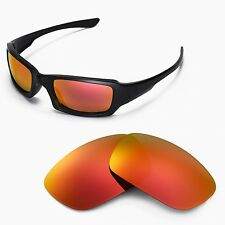 Walleva Fire Red Replacement Lenses for Oakley Fives Squared Sunglasses