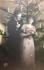 """Love at Christmas"" Couple, Tree & Candles c1910s Hand-Colored Vintage Postcard"