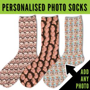Personalised Face Mash Full Photo Socks Novelty Christmas Gift Add Any Photo