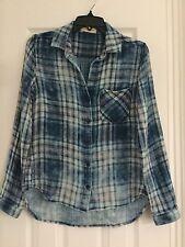 NEW CLOTH & STONE SzXS DOUBLE PLAID BUTTON DOWN LONG SLEEVE SHIRT BLUE MULTI