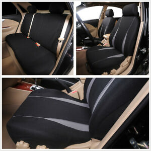 9pcs Gray Polyester Seat Protect Cover Full Set Universal Fit For Standard Car