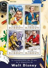 Yibuti 2016 estampillada sin montar o nunca montada Memorial de Walt Disney 50th 4v M/S Dibujos Animados películas Oscars sellos