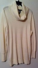 Ralph Lauren Cowl Neck Cream Sweater Size XL  NWT Button Cuffs Nylon Blnd Wash