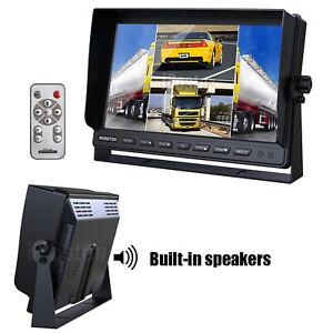 """10.1"""" Quad Monitor Split Screen+Built-in Speaker 4PIN for Caravan Truck 12V/24V"""