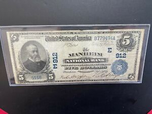1905 $5 National Currency MANHEIM NATIONAL BANK Large Note