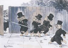 RARE LOUIS WAIN Gentlemen Cats caught red-handed unposted modern repro postcard