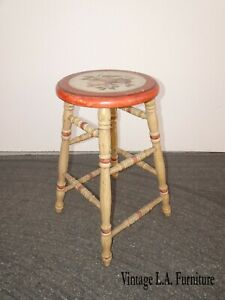 Vintage French Country Stool Hand Painted Seat with Fruit & signed by Henri 2005