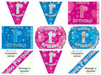 1st First Birthday Age 1 Pink Blue Boys Girls Banners Bunting Balloon Napkins
