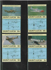 ST. LUCIA #762-765  1985  WORLD WAR II AIRCRAFT  PAIRS    MINT VF NH O.G